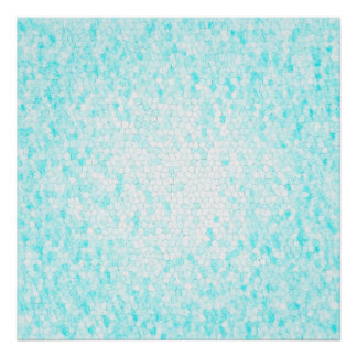 Aqua Blue and White Mosaic Pattern Poster