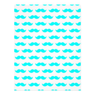 Aqua Blue and White Mustache Pattern 1 21.5 Cm X 28 Cm Flyer