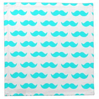 Aqua Blue and White Mustache Pattern 1 Napkin