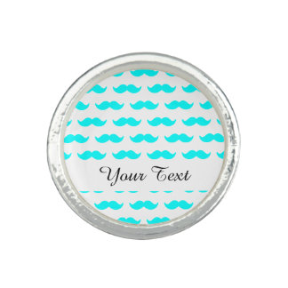 Aqua Blue and White Mustache Pattern 1 Rings