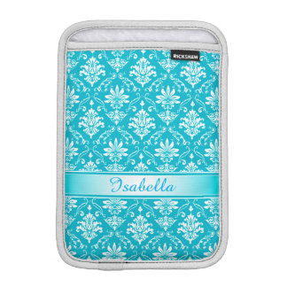 Aqua Blue and White Named Damask iPad Mini Sleeve