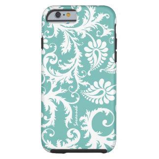 Aqua Blue And White Personalized Damask iPhone 6 c Tough iPhone 6 Case