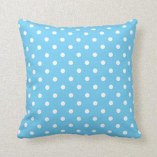 Aqua Blue and White Polka Dot on a Pillow