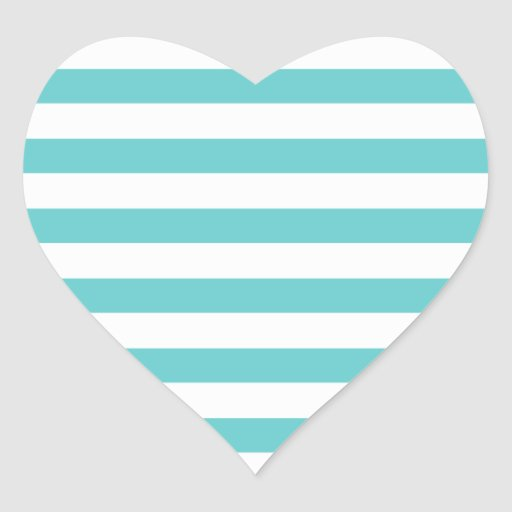 Aqua Blue and White Stripes Pattern Stickers