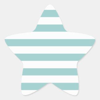 Aqua Blue and White Stripes Pattern Star Stickers