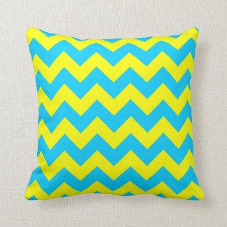 Aqua Blue and Yellow Zigzag Throw Pillow