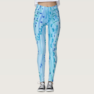 Aqua Blue Art Painted Leggings