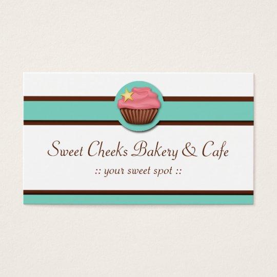 Aqua Blue Banner Pink Cupcake Business Cards