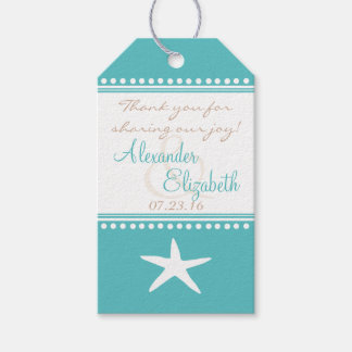 Aqua Blue Beach Guest Favor Thank You - Gift Tags