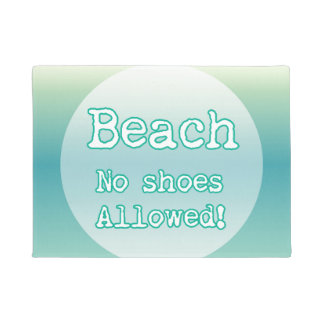 Aqua Blue Beach Lovers Quote Typography Doormat