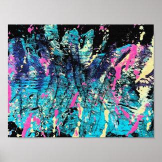 Aqua, Blue, Black, Pink & Bone Colors in Abstract Poster