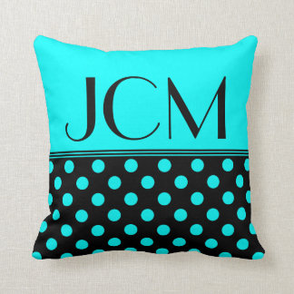 Aqua Blue/Black Polka Dot Monogram Cushion