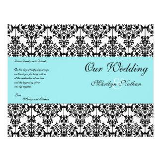 Aqua Blue, Black, White Damask Wedding Program 21.5 Cm X 28 Cm Flyer