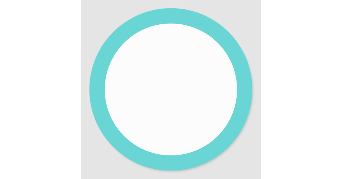 Aqua Blue Border Blank Round Sticker