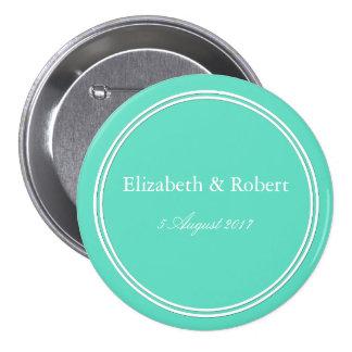 Aqua Blue Box with White Wedding Detail 7.5 Cm Round Badge