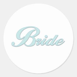 Aqua Blue Bride Round Sticker