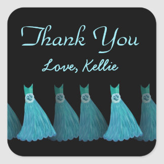 Aqua Blue Bridesmaids Thank You Bridal Shower A04 Square Sticker