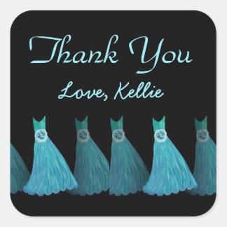 Aqua Blue Bridesmaids Thank You Bridal Shower A04 Square Sticker