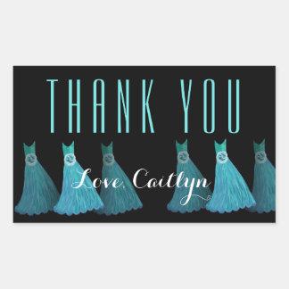 Aqua Blue Bridesmaids Thank You Bridal Shower V07 Rectangular Sticker