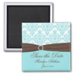 Aqua Blue, Brown, White Damask Save the Date