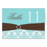 Aqua Blue, Brown, White Damask Table Number Card