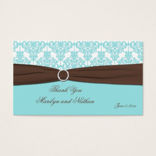 Aqua Blue, Brown, White Damask Wedding Favour Tag