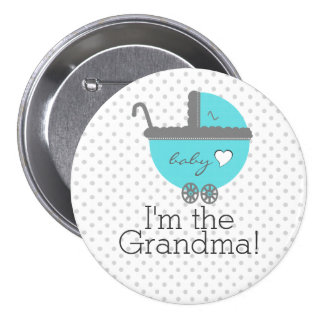 Aqua Blue Carriage Baby Shower Grandma 7.5 Cm Round Badge