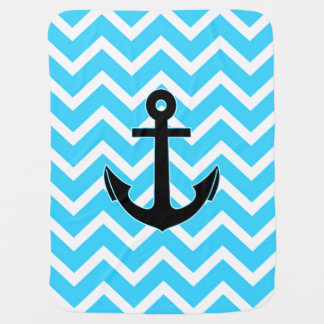 Aqua Blue Chevron Anchor Baby Blanket
