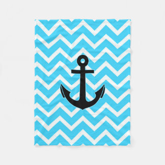 Aqua Blue Chevron Anchor Fleece Blanket