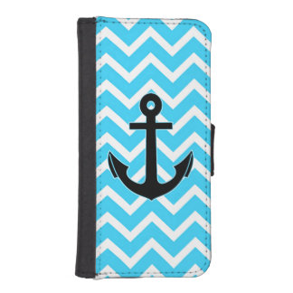 Aqua Blue Chevron Anchor iPhone SE/5/5s Wallet Case