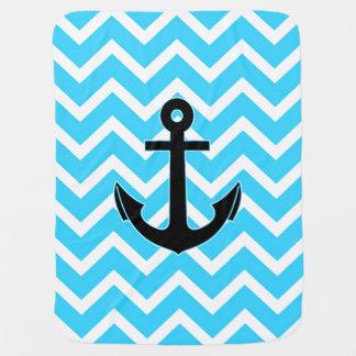 Aqua Blue Chevron Anchor Receiving Blanket