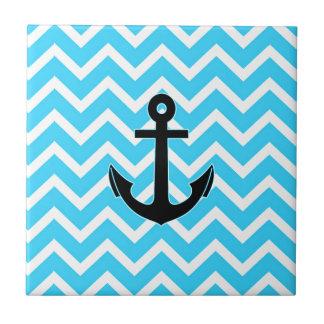 Aqua Blue Chevron Anchor Tile