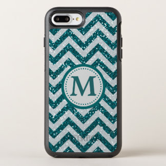 Aqua Blue Chevron Monogram Silver OtterBox Symmetry iPhone 8 Plus/7 Plus Case