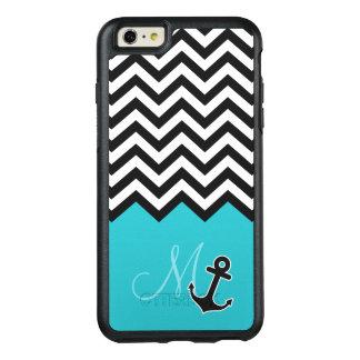 Aqua Blue Chevron Pattern Stylish Anchor Monogram OtterBox iPhone 6/6s Plus Case