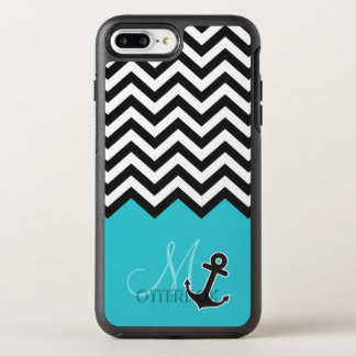 Aqua Blue Chevron Pattern Stylish Anchor Monogram OtterBox Symmetry iPhone 7 Plus Case