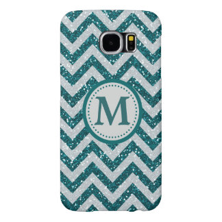 Aqua Blue Chevron Silver Faux Glitter Monogram Samsung Galaxy S6 Cases