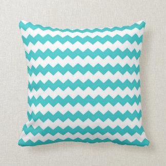 Aqua Blue Chevron Throw Pillow