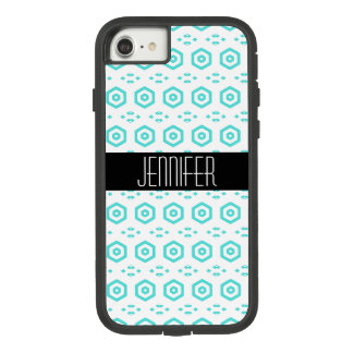 Aqua Blue Chic Geometric Name Case-Mate Tough Extreme iPhone 8/7 Case