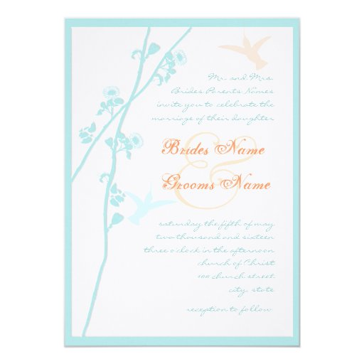 Aqua Blue Coral Flower Humming Bird Wedding 13 Cm X 18 Cm Invitation Card