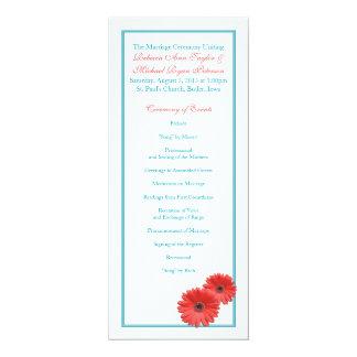 Aqua Blue Coral Gerbera Daisy Wedding Program