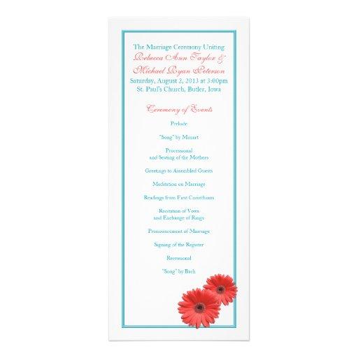 Aqua Blue Coral Gerbera Daisy Wedding Program Invitations