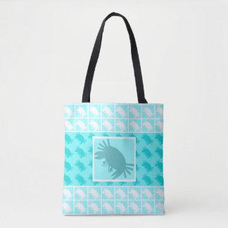 Aqua Blue Crabs Tropical Beach Tote Bag