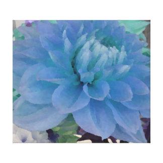 Aqua Blue Dahlia Gallery Wrapped Canvas