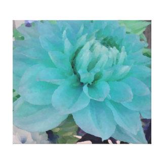 Aqua Blue Dahlia Stretched Canvas Print