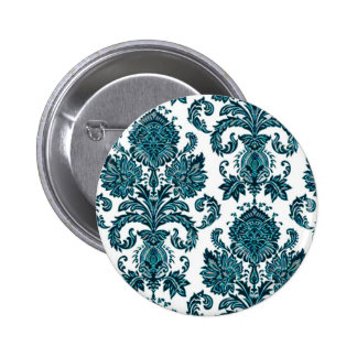 Aqua Blue Damask Button