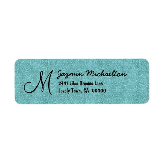Aqua Blue Damask Monogram M or Any Initial M015 Return Address Label