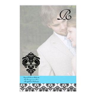Aqua Blue Damask Monogram Wedding Stationery