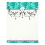 aqua blue damask pattern design flyer