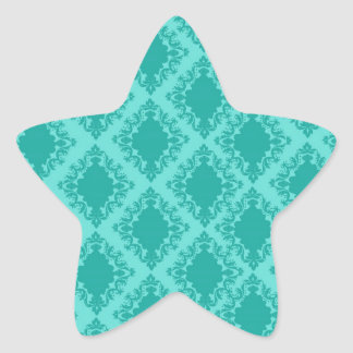 aqua blue damask pattern design star sticker