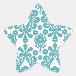 aqua blue damask pattern star sticker